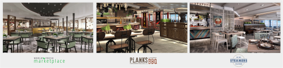 Caribbean Princess Refit Steamers, World Foods Market Place, Planks BBQ